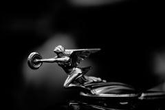 Emblema del cappuccio dell'automobile della ruota della tenuta della donna Fotografia Stock