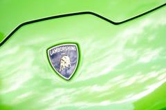 Emblema del cappuccio di Lamborghini immagine stock libera da diritti
