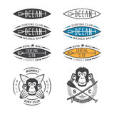 Emblema del club del mono que practica surf stock de ilustración