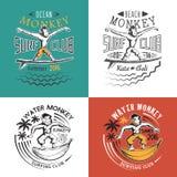 Emblema del club del mono que practica surf Imágenes de archivo libres de regalías