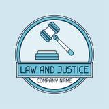 Emblema del concepto del nombre de compañía de la ley y de la justicia Imagenes de archivo