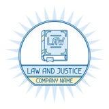 Emblema del concepto del nombre de compañía de la ley y de la justicia Fotos de archivo libres de regalías
