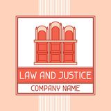 Emblema del concepto del nombre de compañía de la ley y de la justicia Foto de archivo libre de regalías