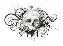 Emblema del cráneo del bosquejo Imagen de archivo libre de regalías