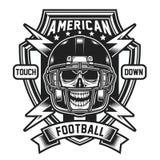 Emblema del cráneo del fútbol americano aislado en blanco ilustración del vector