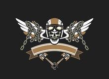 Emblema del cranio del motociclista Fotografia Stock