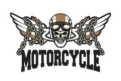 Emblema del cranio del motociclista Fotografia Stock Libera da Diritti