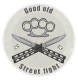 Emblema del cuchillo y del bruss-nudillo Imágenes de archivo libres de regalías