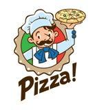 Emblema del cuoco o del panettiere divertente con pizza ed il logo illustrazione vettoriale