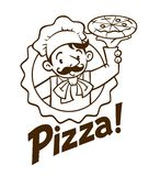 Emblema del cuoco o del panettiere divertente con pizza ed il logo royalty illustrazione gratis