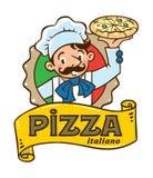 Emblema del cuoco unico italiano divertente con pizza ed il logo illustrazione di stock