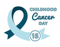 Emblema del día del cáncer de la niñez del mundo Imagen de archivo libre de regalías