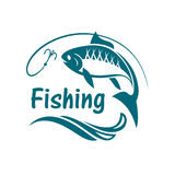 Emblema del deporte de la pesca Imagen de archivo libre de regalías