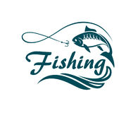 Emblema del deporte de la pesca Imagenes de archivo