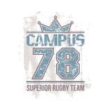 Emblema del equipo del rugbi del campus libre illustration