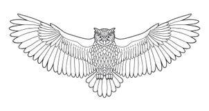 Emblema del esquema del búho en estilo geométrico del inconformista con la flecha libre illustration