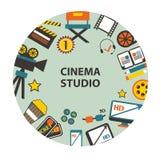 Emblema del estudio del cine Foto de archivo