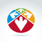 emblema del extracto 3d con las flechas multidireccionales en la forma de Imagen de archivo