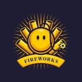 Emblema del fuoco d'artificio con i petardi e la bomba sorridente illustrazione di stock
