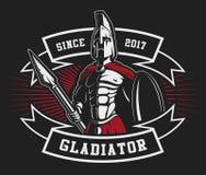 Emblema del gladiador con una lanza Foto de archivo libre de regalías
