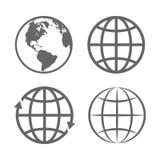 Emblema del globo della terra Modello di logo Insieme dell'icona Vettore Immagini Stock