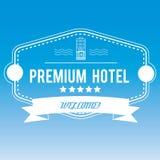Emblema del hotel en fondo borroso Foto de archivo