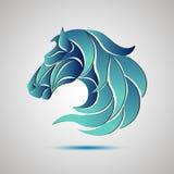Emblema del logotipo de la cabeza de caballo símbolo para el negocio Fotos de archivo