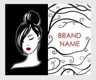 Emblema del logotipo de la muchacha en el estilo blanco y negro - concepto de diseño elegante de moda stock de ilustración