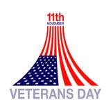 Emblema del logotipo del diseño de la bandera del día de veteranos en el fondo blanco Fotos de archivo libres de regalías