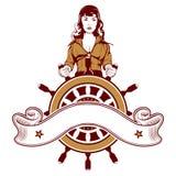 Emblema del marinaio della donna Immagini Stock
