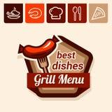 Emblema del menú de la parrilla Foto de archivo libre de regalías