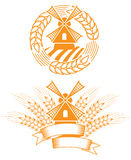 Emblema del mulino a vento Immagini Stock