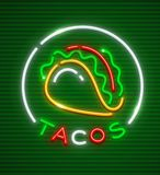 Emblema del neón de los tacos Logotipo tradicional mexicano de la cocina Foto de archivo
