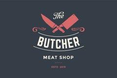 Emblema del negozio della carne da macello con i coltelli dei cuochi unici e della mannaia illustrazione vettoriale