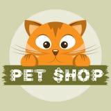 Emblema del negozio di animali Gatto arancio sull'insegna animale del deposito Fotografia Stock