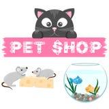 Emblema del negozio di animali Insegna con il nome del deposito animale Fotografia Stock