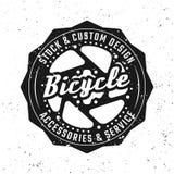 Emblema del negro del vector del engranaje de la bicicleta, insignia, etiqueta libre illustration