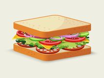 Emblema del panino del salame Fotografia Stock Libera da Diritti