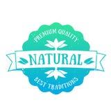 Emblema del prodotto naturale, distintivo sopra bianco Immagine Stock