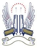 Emblema del richiamo e della pistola Fotografia Stock Libera da Diritti