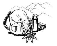 Emblema del turismo de la montaña ilustración del vector