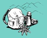 Emblema del turismo de la montaña stock de ilustración