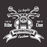 Emblema del vector de la motocicleta con la cinta para el texto stock de ilustración