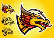 Emblema del vector del logotipo del dragón del oro Foto de archivo libre de regalías