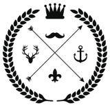 Emblema del vector - plantillas abstractas del logotipo del lhipster con las flechas, las guirnaldas y el espacio de la copia par stock de ilustración