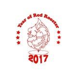 Emblema del vector por el Año Nuevo con una imagen del gallo rojo ardiente como vela Imagen de archivo