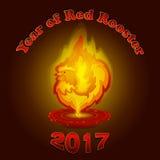 Emblema del vector por el Año Nuevo con una imagen del gallo rojo ardiente como vela Imagen de archivo libre de regalías