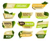 Emblema del vegano Insignia fresca del producto de la naturaleza, etiqueta engomada vegetariana sana de los productos alimenticio ilustración del vector