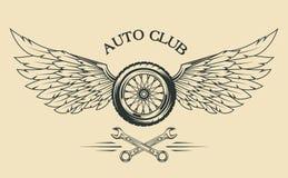 Emblema del vintage de las ruedas y de las alas Foto de archivo libre de regalías