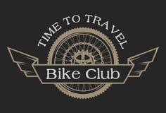 Emblema del vintage en el club de ciclo del tema Foto de archivo